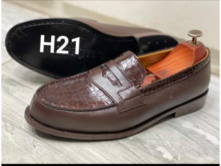 Chaussure mocassin en cuir véritable