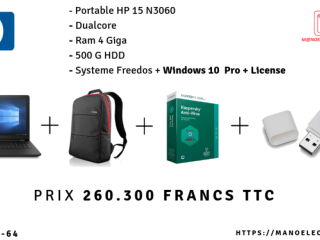 PC PORTABLE HP 15N3060+ SAC+ ANTIVIRUS+ USB