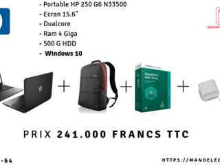 PC PORTABLE HP 250 G6 N33500 +SAC+ANTIVIRUS+CLE USB