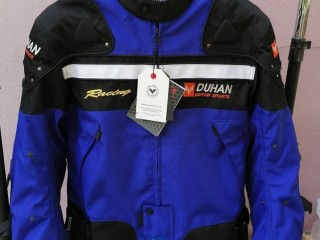 Blouson moto en nylon bleu